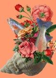 Colagem da arte, um ramalhete das rosas em uma concha do mar fotos de stock
