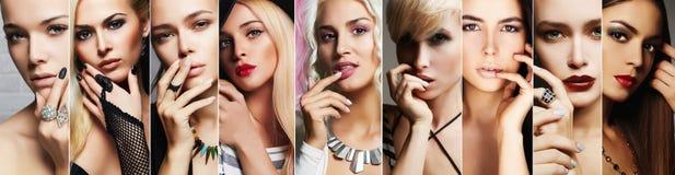 Colagem da beleza As caras das mulheres com compõem Foto de Stock Royalty Free