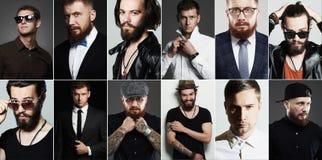 Colagem da beleza do homem real caras do ` s dos homens Fotos de Stock Royalty Free