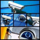 Colagem da câmera ou do sistema de vigilância do CCTV da segurança do close up fotografia de stock royalty free