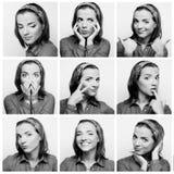 Colagem da cara da jovem mulher foto de stock royalty free