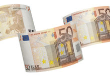 Colagem da conta do euro cinqüênta isolada no branco Foto de Stock