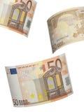 Colagem da conta do euro cinqüênta isolada no branco Imagem de Stock Royalty Free