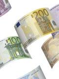 Colagem da conta do Euro no branco Imagens de Stock