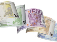 Colagem da conta do Euro no branco Fotografia de Stock Royalty Free