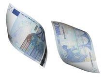 Colagem da conta do euro vinte isolada no branco Imagens de Stock Royalty Free
