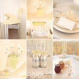 Colagem da decoração do casamento na cor branca Imagem de Stock