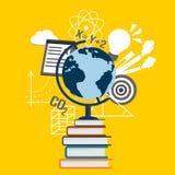 Colagem da educação com o globo em livros, em ciência e em símbolos da escola Fotos de Stock Royalty Free