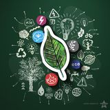 Colagem da energia de Eco com ícones no quadro-negro Foto de Stock Royalty Free