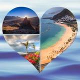 Colagem da Espanha Europa do Tenerife Imagem de Stock