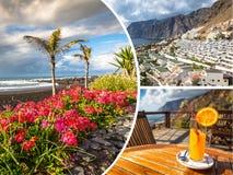 Colagem da Espanha Europa do Tenerife Foto de Stock