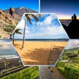 Colagem da Espanha Europa do Tenerife Fotos de Stock