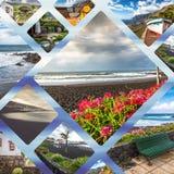 Colagem da Espanha Europa do Tenerife Fotografia de Stock