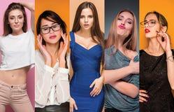 Colagem da forma das imagens de jovens mulheres bonitas Meninas 'sexy' bonitas Fotos de Stock