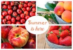 Colagem da foto, bagas e frutos do verão, morangos, cerejas doces com gotas da água, abricós orgânicos maduros, pêssego de Saturn Imagens de Stock Royalty Free