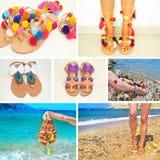Colagem da foto de sandálias gregas boêmias fotos de stock royalty free