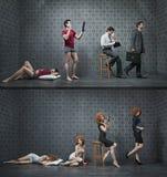 Colagem da foto de uma manhã típica de empregados de escritório novos Imagens de Stock