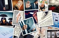 Colagem da foto do imposto do negócio e de renda fotos de stock royalty free