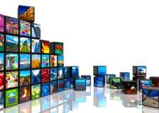 Colagem da foto dos cubos com retratos Imagens de Stock