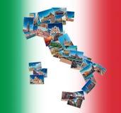 Colagem da foto feita de marcos do curso de Itália fotografia de stock