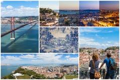 Colagem da imagem da cidade de Lisboa em Portugal Fotos de Stock