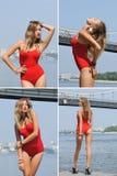 Colagem da jovem mulher bonita no bodysuit vermelho no rio Fotografia de Stock