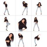 Colagem da jovem mulher glamoroso no revestimento e em calças de brim pretos Imagem de Stock