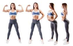 A colagem da jovem mulher no sportswear demonstrou seu corpo atlético muscular imagem de stock
