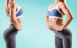 A colagem da jovem mulher no sportswear demonstrou seu corpo atlético muscular imagem de stock royalty free