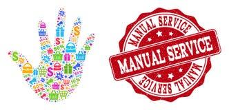 Colagem da mão do mosaico e selo riscado para vendas ilustração do vetor