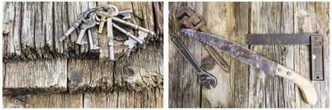 Colagem da madeira do grunge das chaves de esqueleto da casa Foto de Stock