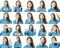Colagem da menina bonita com expressões faciais diferentes imagens de stock