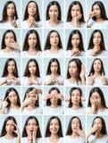 Colagem da menina bonita com expressões faciais diferentes imagens de stock royalty free