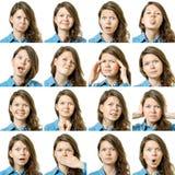 Colagem da menina bonita com expressões faciais diferentes fotografia de stock royalty free