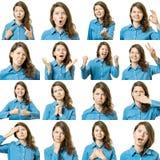 Colagem da menina bonita com expressões faciais diferentes imagem de stock