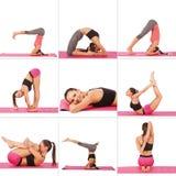 Colagem da menina bonita nova que levanta a ioga no branco Imagens de Stock