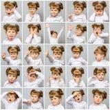 Colagem da menina bonito pequena com emoções e gestos diferentes Foto de Stock