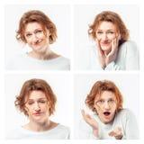 Colagem da mesma mulher adulta que faz expressões diferentes Tiro do estúdio imagem de stock