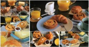Colagem da metragem de um café da manhã francês vídeos de arquivo