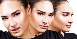 Colagem da mulher bonita com o vitiligo no t-shirt preto Imagem de Stock