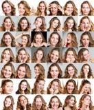 Colagem da mulher com expressões diferentes imagem de stock royalty free