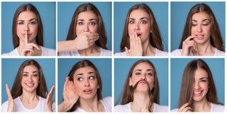 Colagem da mulher com expressões faciais diferentes Fotos de Stock Royalty Free