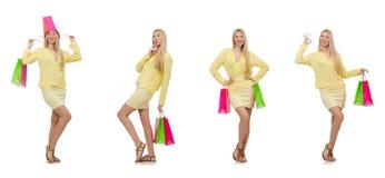 Colagem da mulher com sacos de compras Fotografia de Stock Royalty Free