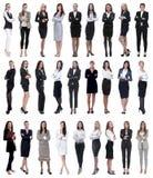 Colagem da mulher de negócios moderna bem sucedida Isolado no branco fotos de stock royalty free