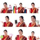 Colagem da mulher indiana alegre nova com várias expressões sobre o branco imagens de stock