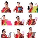 Colagem da mulher indiana alegre nova com várias expressões sobre o branco fotografia de stock