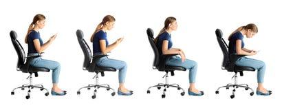 Colagem da mulher que senta-se na cadeira contra o branco Conceito da postura fotos de stock royalty free