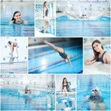 Colagem da natação da mulher na piscina interior Foto de Stock
