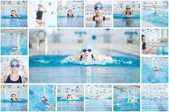 Colagem da natação da mulher na piscina interior Fotografia de Stock Royalty Free