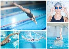 Colagem da natação da mulher na piscina interior Foto de Stock Royalty Free